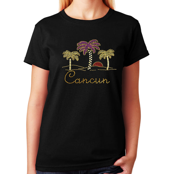 Unisex T-Shirt with Palm Trees with Cancun in Rhinestud