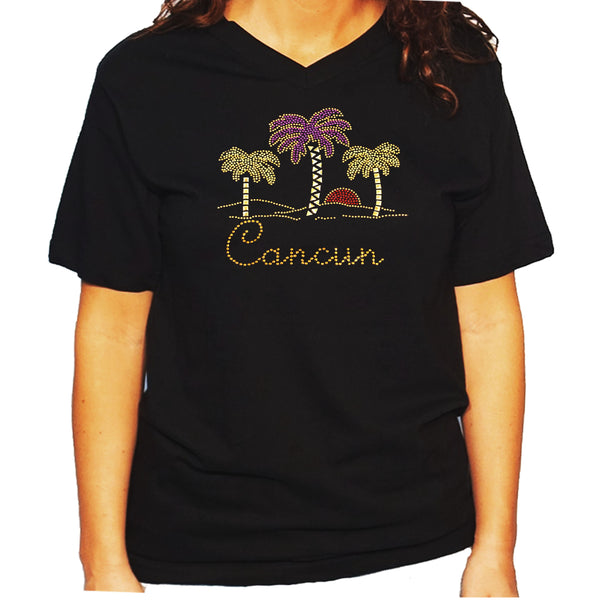Women's / Unisex T-Shirt with Palm Trees with Cancun in Rhinestud