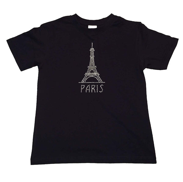 "Girls Rhinestone T-Shirt "" Paris Eiffel Tower "" Size 3 to 14 Available"
