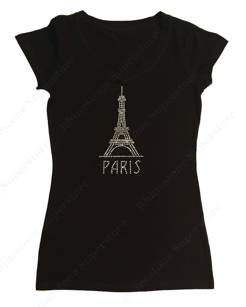 Womens T-shirt with Paris Eiffel Tower in Rhinestones
