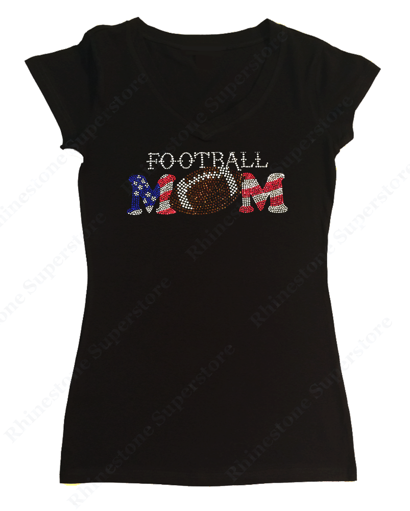 Womens T-shirt with Patriotic Football Mom in Rhinestones