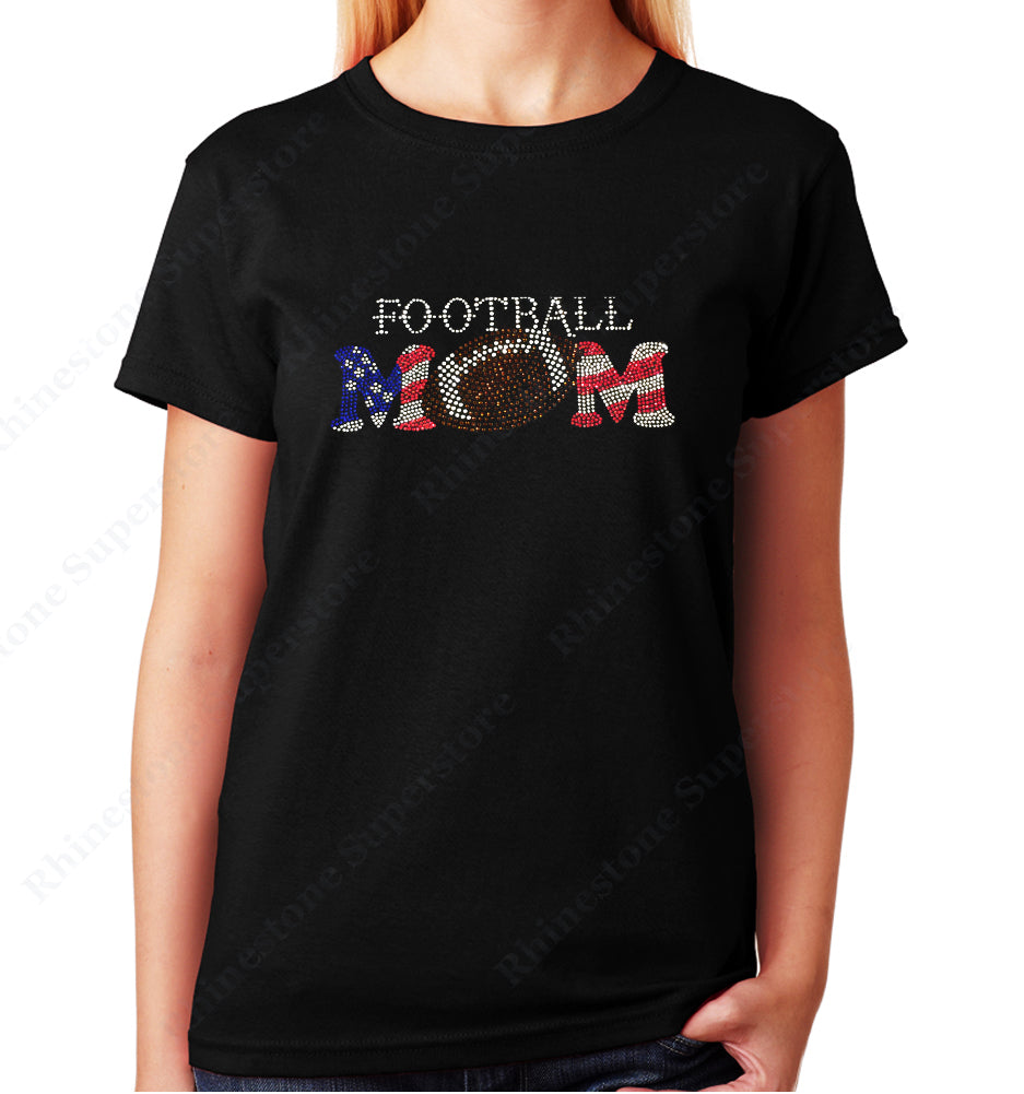 Women's / Unisex T-Shirt with Patriotic Football Mom in Rhinestones