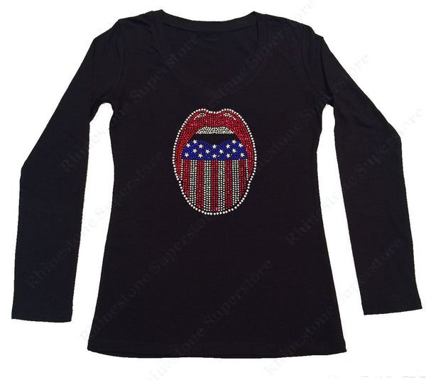 Womens T-shirt with Patriotic Lips 4th of July in Rhinestones
