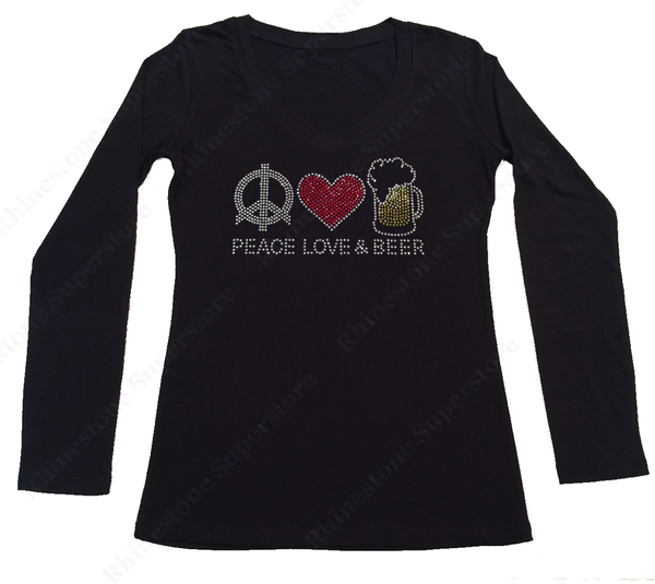 Womens T-shirt with Peace Love Beer in Rhinestones