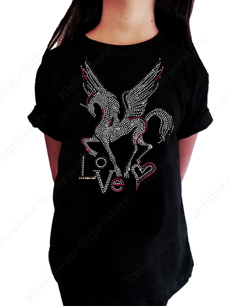 "Girls Rhinestone T-Shirt "" Pegasus with Love in Rhinestones "" Kids Size 3 to 14 Available"