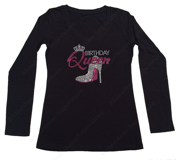 Womens T-shirt with Pink Birthday Queen with Heel in Rhinestones