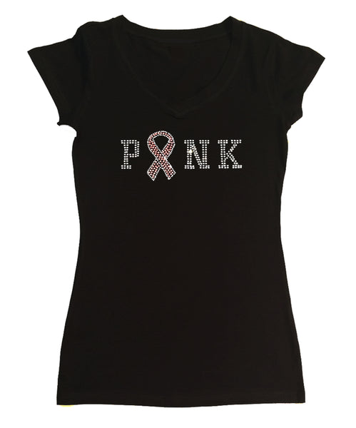 Womens T-shirt with Pink and Crystal Faith Cross in Rhinestones