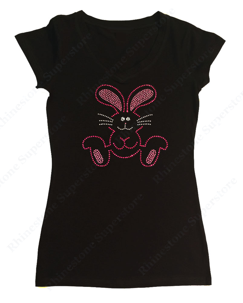 Womens T-shirt with Pink Easter Bunny in Rhinestones