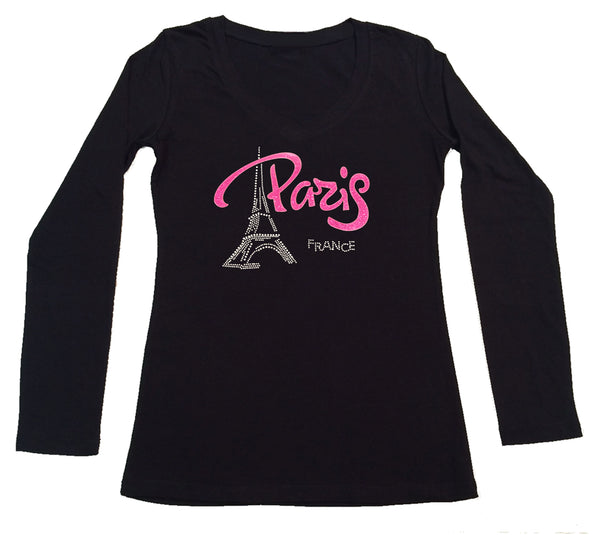 Womens T-shirt with Pink Paris Eiffel Tower in Rhinestones