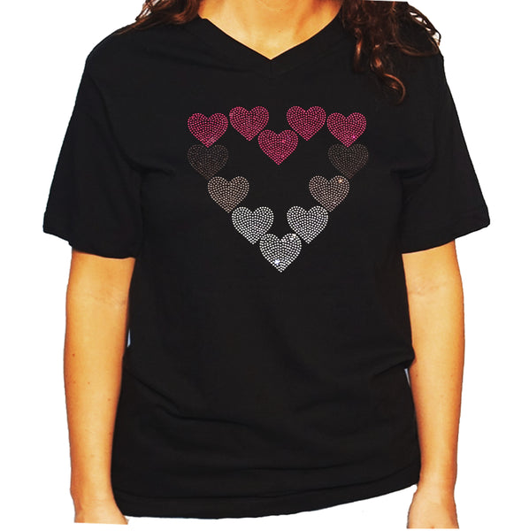 Women's / Unisex T-Shirt with Pink, Purple & Crystal Hearts in Rhinestones