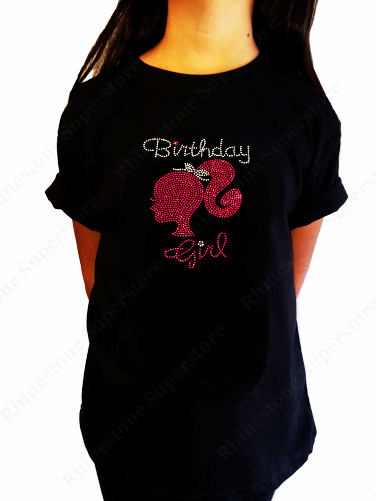 "Girls Rhinestone T-Shirt ""Pink Silhouette Birthday Girl"" Kids Size 3 to 14 Available"