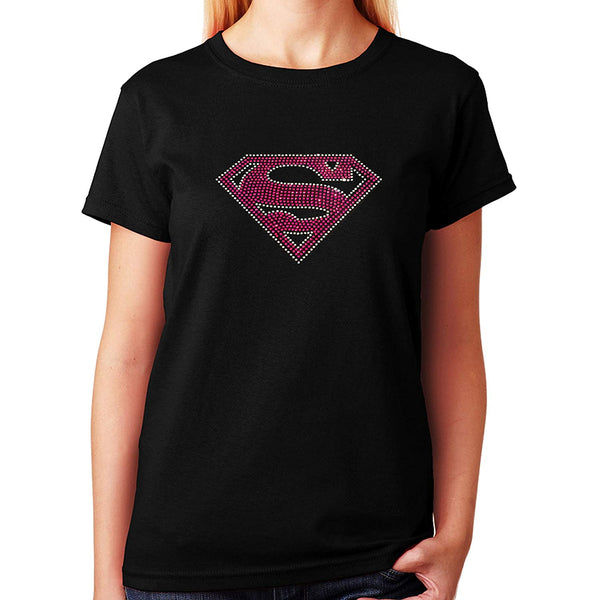 Women's / Unisex T-Shirt with Pink Supergirl in Rhinestones