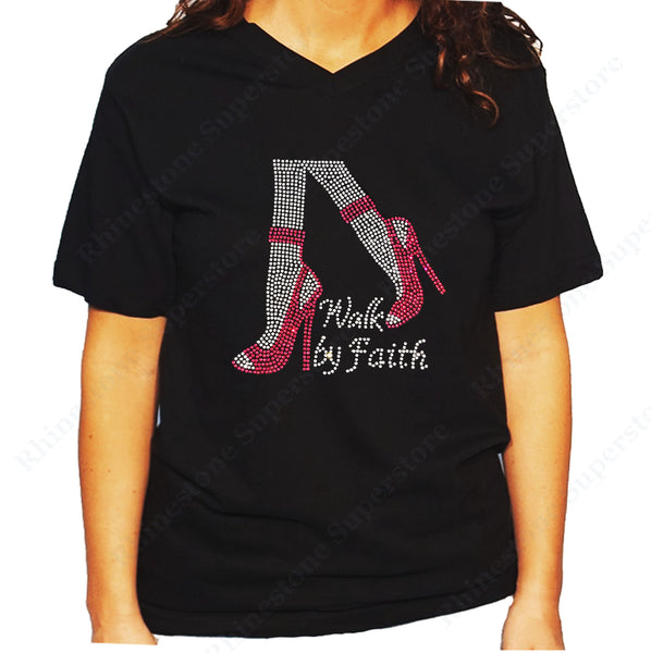 Women's / Unisex T-Shirt with Pink Walk by Faith in Rhinestones