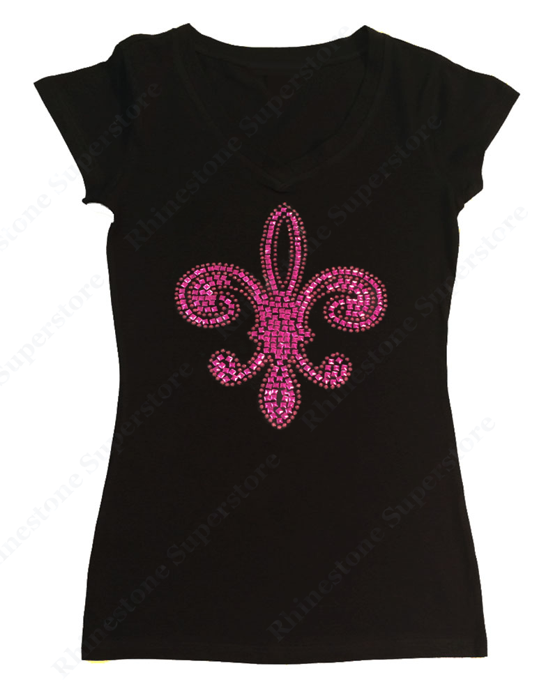 Womens T-shirt with Pinkish Purple Fleur de lis in Rhinestuds