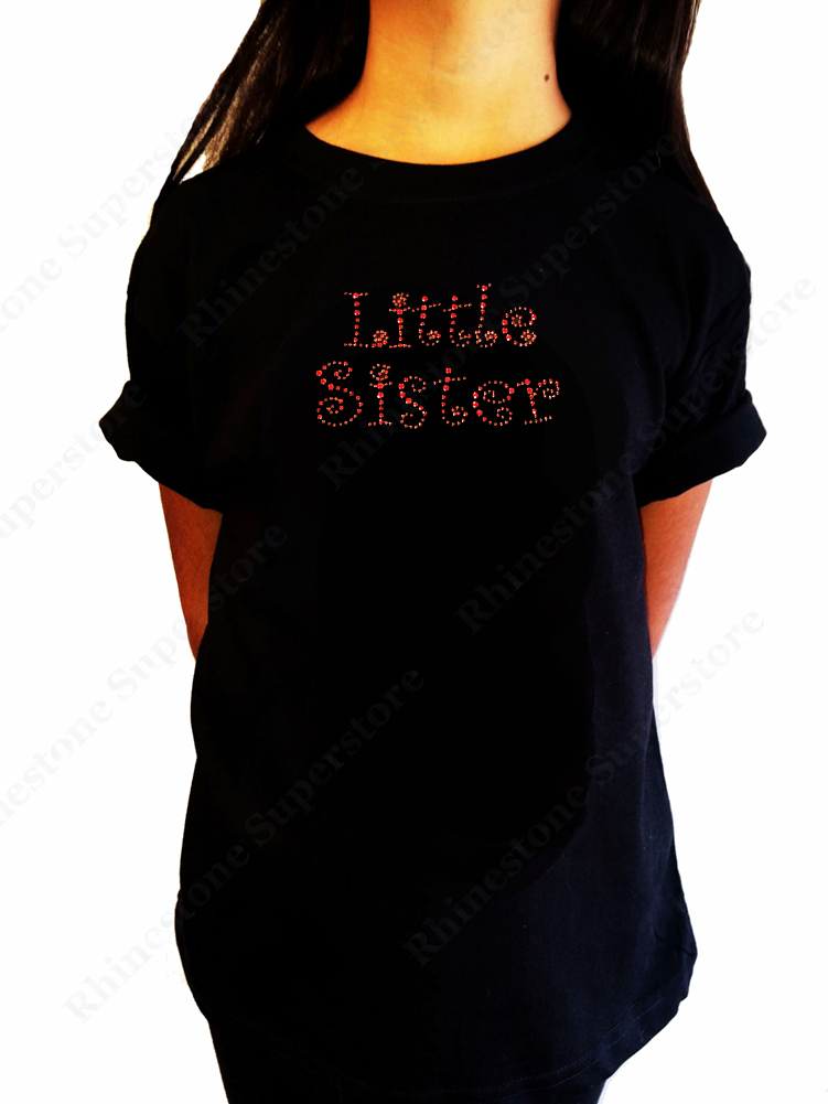 "Girls Rhinestone T-Shirt "" Pinkish Red Little Sister "" Kids Size 3 to 14 Available"