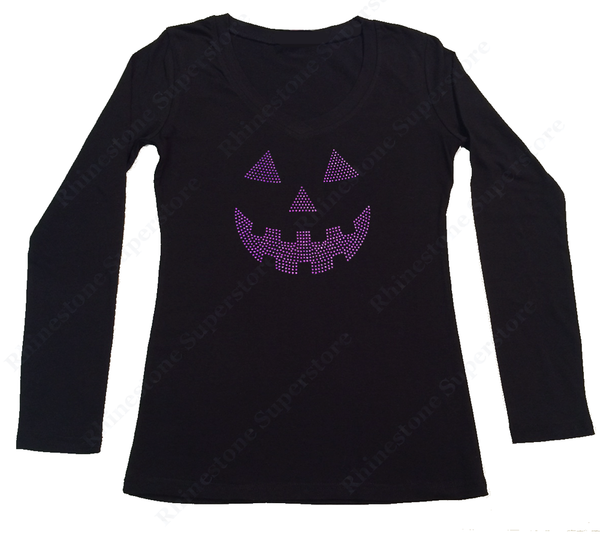 Womens T-shirt with Purple Jack O' Lantern in Rhinestones