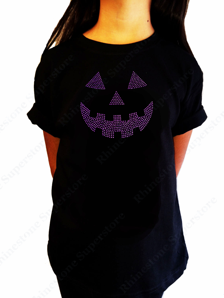 "Girls Rhinestone T-Shirt "" Purple Jack O Lantern "" Size 3 to 14 Available"