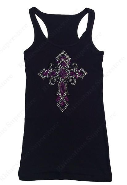 Womens T-shirt with Purple Twisted Cross in Rhinestones