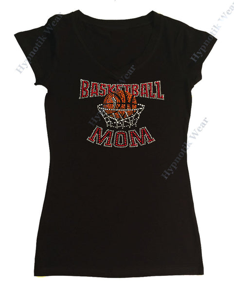 Womens T-shirt with Red Basketball Mom in Rhinestones