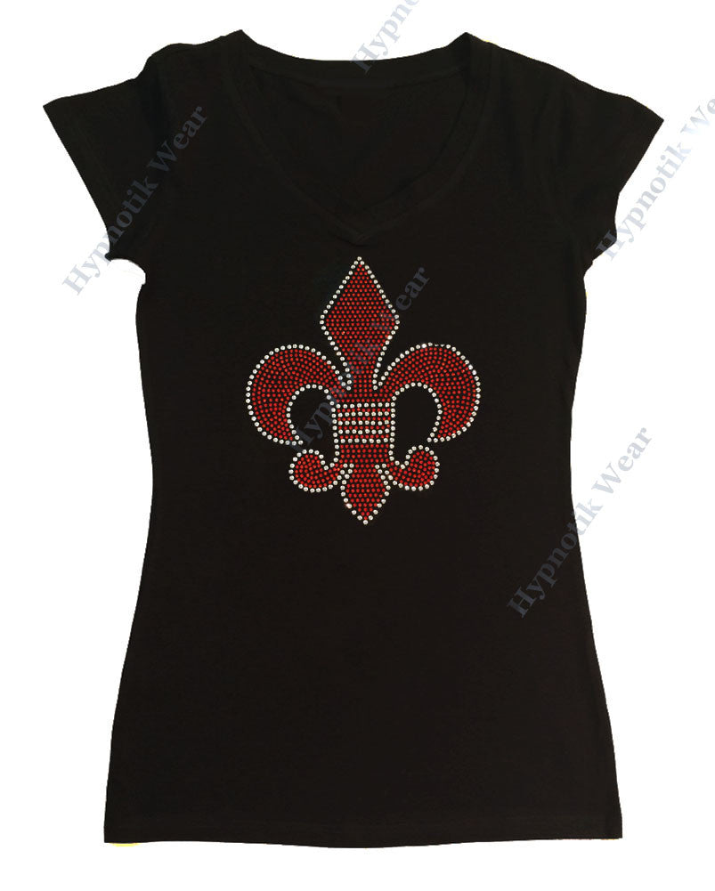 Womens T-shirt with Red Fleur de lis in Rhinestuds