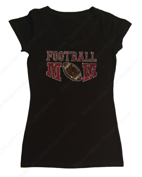 Womens T-shirt with Red Football Mom in Rhinestones