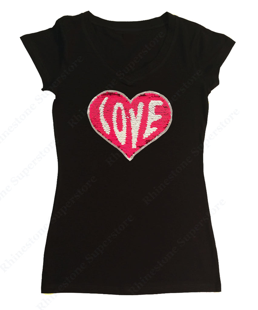 Womens T-shirt with Red Love Heart in 2 Sided Color Sequence