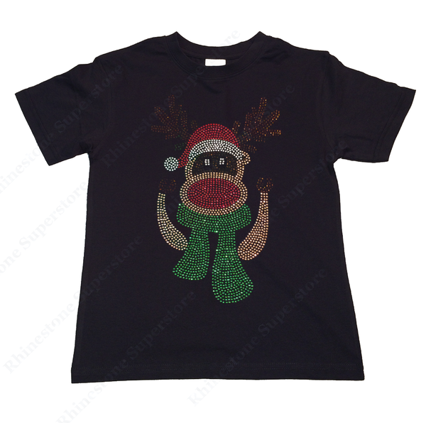 "Girls Rhinestone T-Shirt "" Red Nosed Reindeer with Scarf "" Size 3 to 14 Available"