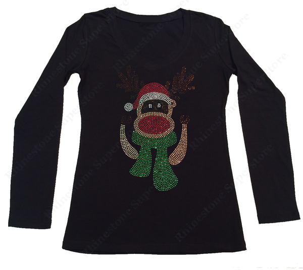 Womens T-shirt with Red Nosed Reindeer with Scarf in Rhinestones