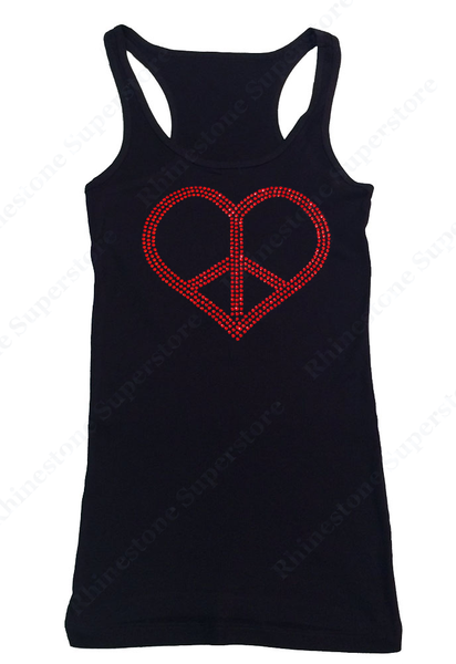 Womens T-shirt with Red Peace Heart in Rhinestones