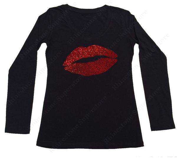 Womens T-shirt with Red Sexy Lips in Sequence