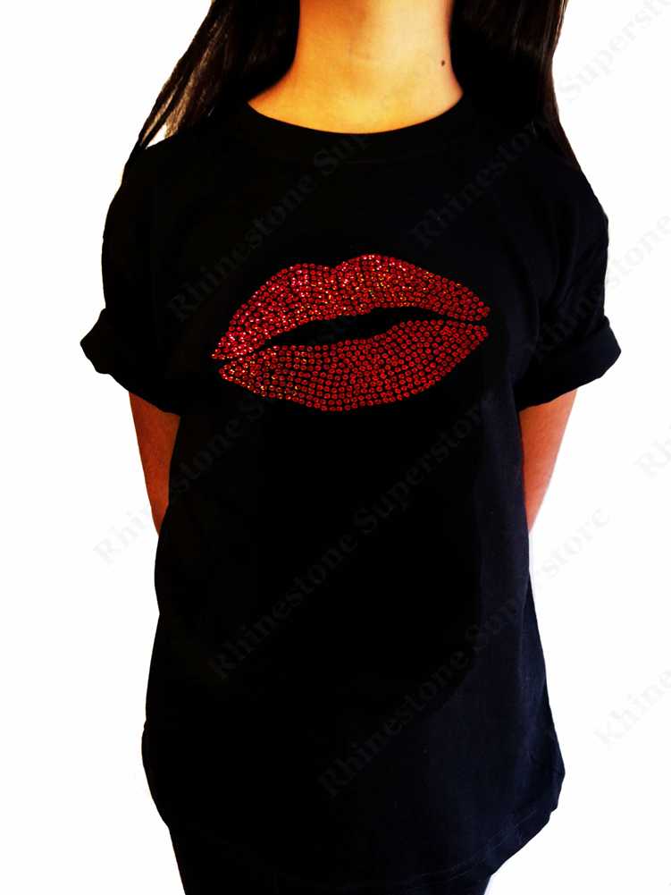 "Girls Sequence T-Shirt "" Red Sexy Lips "" Size 3 to 14 Available"