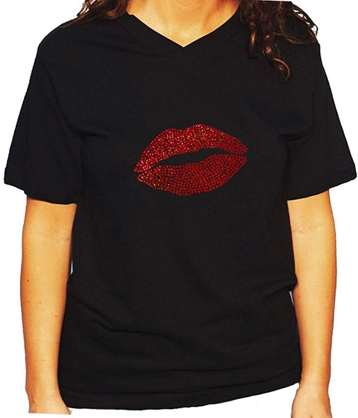 Women's / Unisex T-Shirt with Red Sexy Lip in Sequence