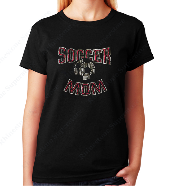 Women Unisex T-Shirt with Red Soccer Mom in Rhinestones Crew Neck