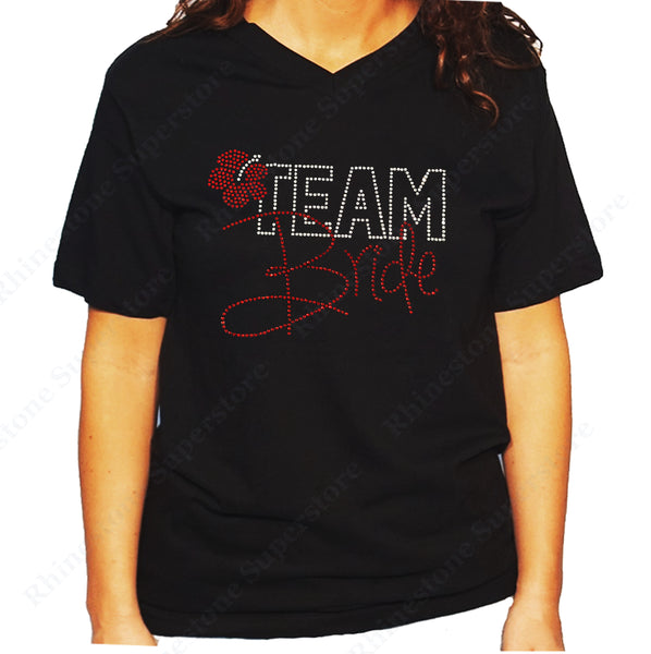 Women's / Unisex T-Shirt with Red Team Bride with Flower in Rhinestones