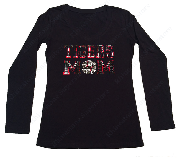 Womens T-shirt with Red Tigers Mom in Rhinestones
