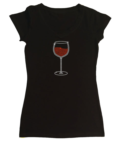 Womens T-shirt with Red Wine Glass in Rhinestones