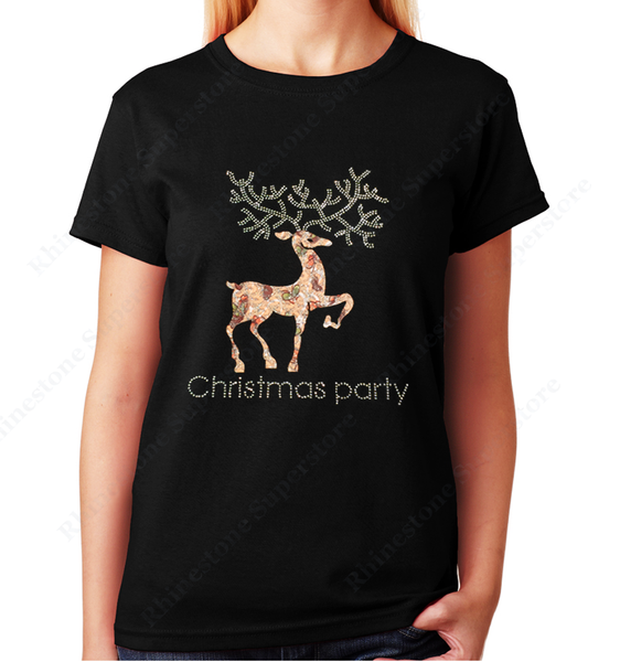 Women Unisex T-Shirt with Reindeer Christmas Party in Rhinestones Crew Neck