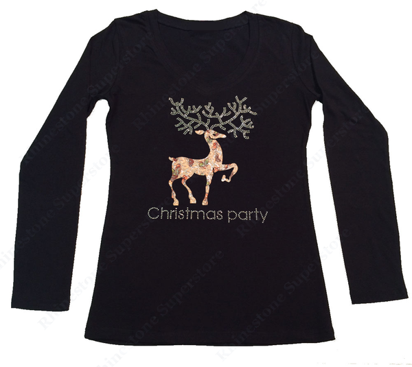 Womens T-shirt with Reindeer Christmas Party in Rhinestones and Material