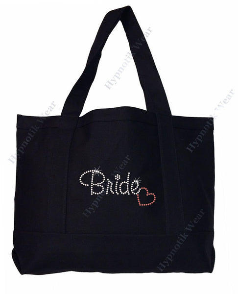 "Rhinestone Sturdy Tote Bag with Zipper & Front Pocket "" Bride with Heart"" Honey Moon Bling"