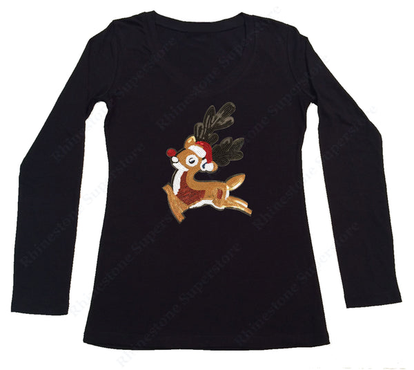 Womens T-shirt with Rudolph The Red Nose Reindeer in Sequence