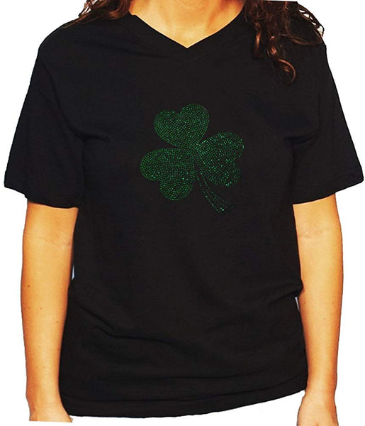 Women's / Unisex T-Shirt with ST. Patrick's Day Clover In Rhinestones