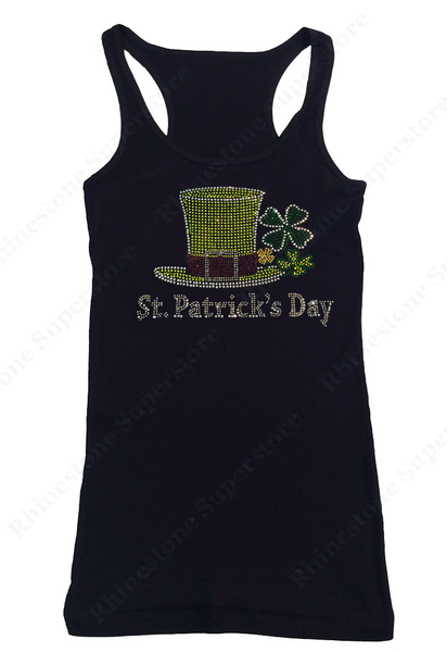 Womens T-shirt with Saint Patrick's Day Top Hat with Clover Leaves in Rhinestones