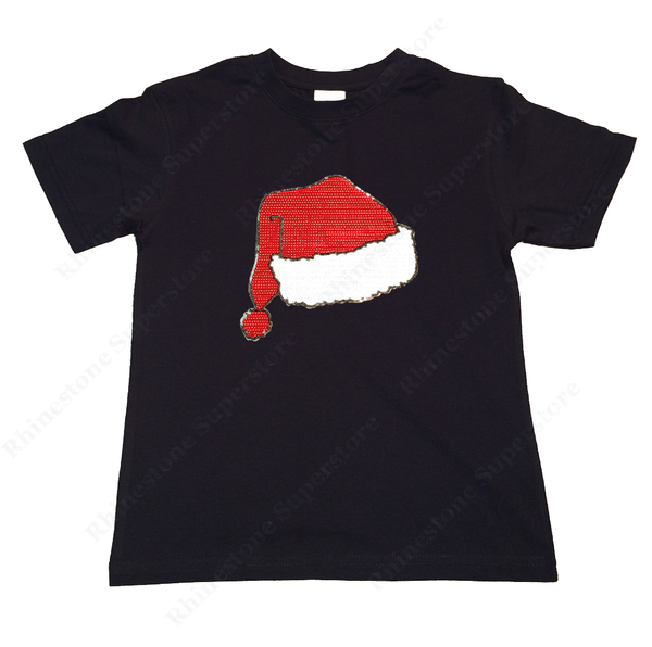 "Girls Rhinestone T-Shirt "" Sequence Santa Hat "" Size 3 to 14 Available"