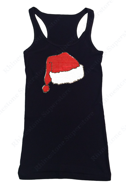 Womens T-shirt with Santa Hat in Sequence