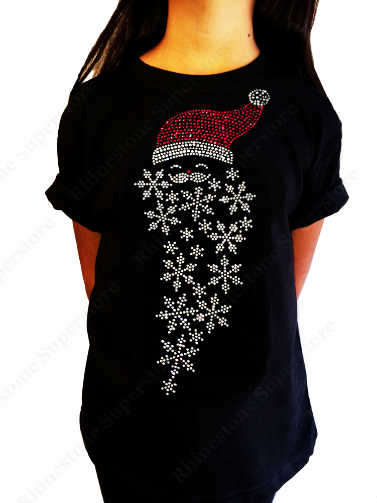 "Girls Rhinestone T-Shirt "" Santa Hat with Snowflakes "" Size 3 to 14 Available"