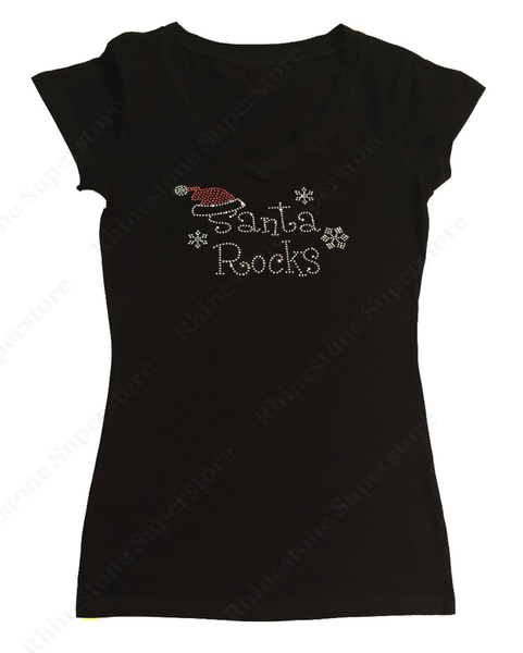 Womens T-shirt with Santa Rocks in Rhinestones