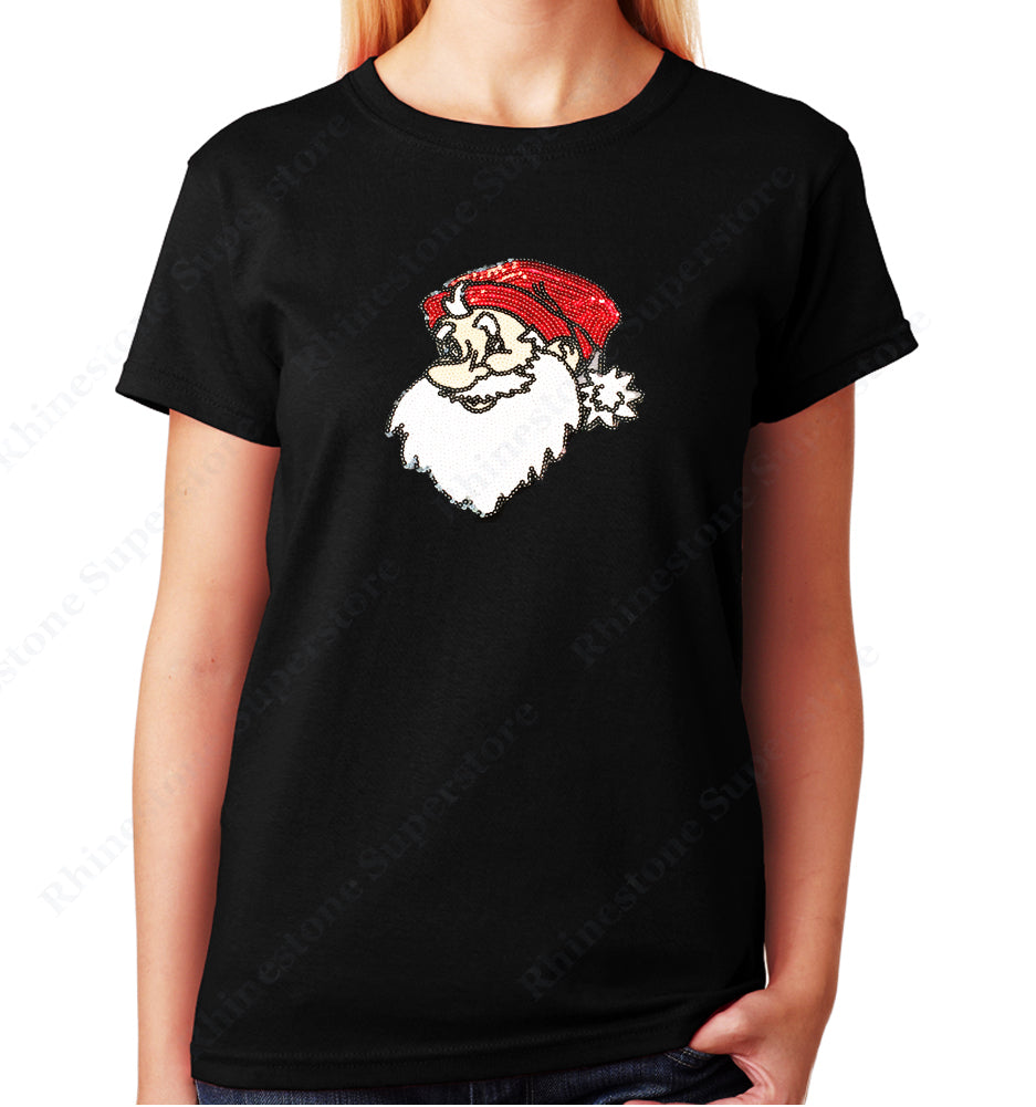Unisex Crew Neck T-Shirt with Santa in Sequence