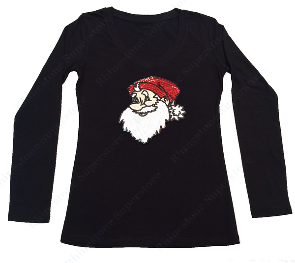 Womens T-shirt with Santa in Sequence