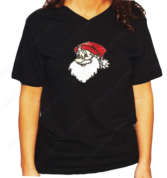 Unisex V Neck T-Shirt with Santa in Sequence