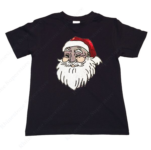 "Girls Sequence T-Shirt "" Santa with Hat "" Size 3 to 14 Available"